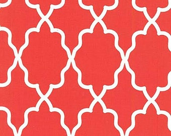 Michael Miller Moroccan Lattice Tile Fabric Red and White Clemintine Coral