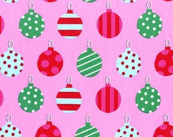 Christmas Fabric by Michael Miller Holiday Hang the Ornaments Polka Dots Dot Stripe Stripes on Pink