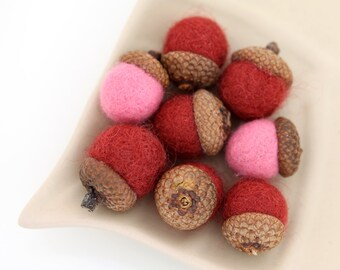 BUBBLE GUM Wool Needle Felted Waldorf Inspired ACORNS Set of 8
