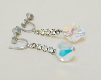 Vintage Rhinestone Crystal Earrings Dangles . Drops . AB Finish . Screw Back . Earrings