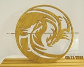 DRAGONS WOUND Up In CIRCLE Frame Yin And Yang Scroll Saw Plaque