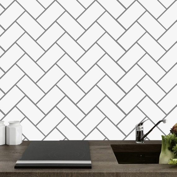 Herringbone Tile Kitchen And Bathroom Wall Decals