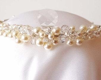 Wedding Tiara, Swarovski Pearls and Crystals, Tear drop Crystal Bridal Tiara