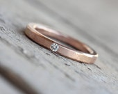 Rose Gold Moissanite or Diamond Wedding Band Solid 14k Subtle Hammered Texture Rustic Minimalistic Narrow Bridal Ring Hers - Brilliant Dab