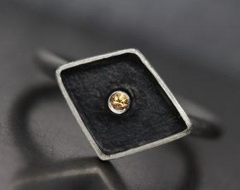 Yellow Sapphire Rhombus Box Ring Black Silver Modern Geometric Simple - Diamond Star