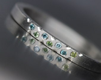 Women's Platinum Green Blue Diamond Wedding Band Modern Underwater Ocean Romantic Luxurious Minimalistic Bridal Ring Hers - Mermaid Bubbles