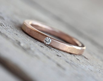 Rose Gold Moissanite or Diamond Wedding Band Solid 14k Subtle Hammered Texture Rustic Minimalistic - Brilliant Dab