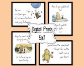 Set of 4 Classic Winnie the Pooh Quotes - 5x7, INSTANT DOWNLOAD