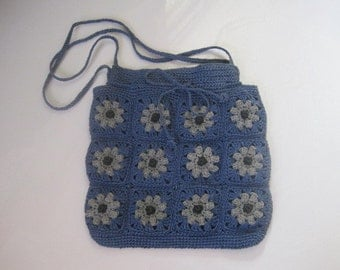 Cornflower Blue Woven Bag with Light Blue Flowers Crochet with Drawstring  and Snap Closure