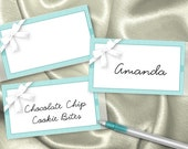 10  Name Tag Stickers, Food Labels, Stickers for Favors, Wedding, Baby Shower, Bridal Shower, Birthday, Aqua Color Scheme, White Bow