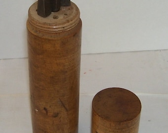 Antique 5 Drills with Round Wood Cyclinder Holder, Screw on Top, Brace Bits, Industrial, Builders Tools, Building Trade, The Old Farm