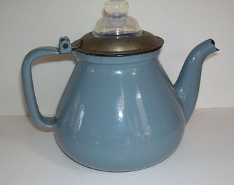 Antique Blue Enamel Coffee Pot with Opalescent Glass Perk Knob, Country Farm House, Opalescense White Kitchen primitives, Camping Coffee pot