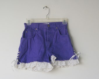 Vintage 1980's Purple Denim and Lace High Waisted Shorts 3/4