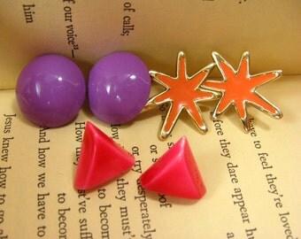 Set Of Earrings, Pierced Earrings, Vintage Earrings, Pink Triangle Earrings, Purple Round Earrings, Girly Earrings Set, Orange Star Earrings