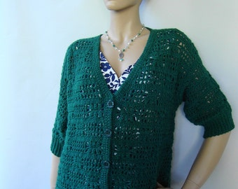 Crochet Sweater, Women's Cardigan Sweaters, Alpaca Sweater, Crochet Cardigan, Emerald Green, Gift for Her, Available in sizes M and L