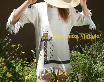 Vintage Hand Painted Southwest Kachina Tunic ~ One of a Kind ~ Fresh
