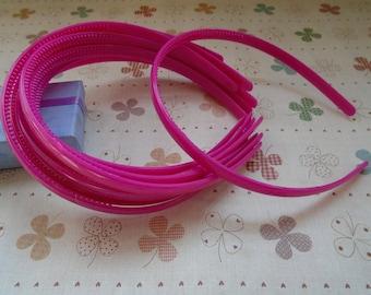 20pcs 9mm hot pink plastic headband with teeth 37cm long