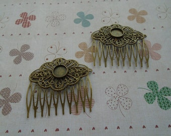 20 pcs Nickel Free Antique Bronze Plated Hair Comb with 10 Teeth Barrette Pin 55x52mm
