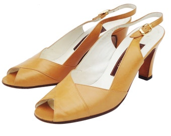 Vintage BALLY Switzerland Caramel Leather Slingback Peeptoe Pump Sz 6 B ITALY