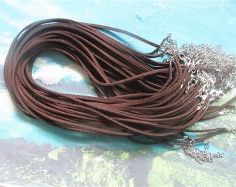 PROMOTION SALE 100pcs 22-24 inch adjustable 3mm brown flat suede leather necklace cords with small metal finish and lobster clasps