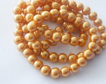 105 Orange imitation pearl  glass beads B3