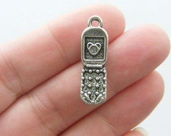 BULK 50 Cell phone charms antique silver tone PT51