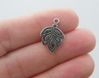 12 Leaf charms antique silver tone L98