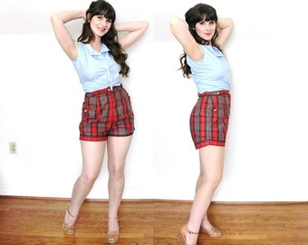 50s Shorts / 1950s Pinup Shorts / 50s Red Plaid HIgh Waisted Shorts