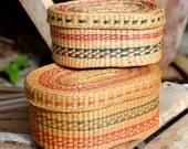 Set of Two Vintage Handwoven Sweet Grass Lidded Baskets