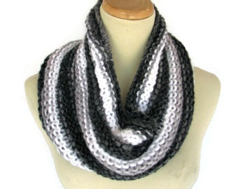 Knit Scarf, Black White Cowl, Knit Cowl, Hand Knit Cowl, Snood, Cowl, Gray, Womens Cowl, Fashion Scarf, Winter Scarf, Fiber Art,