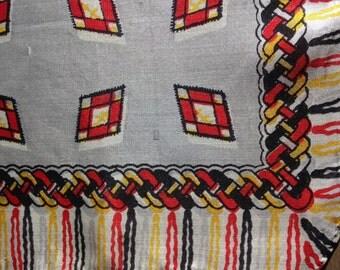 SILK Scarf square light gray RED Yellow BLACK