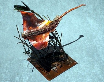 """Copper and Mild Steel Abstract Sea Life Sculpture (""""Abyss II"""")"""