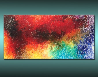 ORIGINAL Abstract Contemporary Colorful Textured Painting by Henry Parsinia Large 48x24
