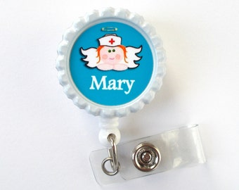Personalized Nurse Angel Blue  - Name Badge Holder - Retractable ID Badge Reel  - Nurse Badge Holder - Nursing Badge Holder