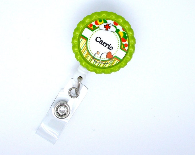 Personalized Nurse Flower Badge Green - RN Badge Holder - Nurse Practitioner Badge Holder - Nursing Badge Holder - CRNA Badge - NP Badge