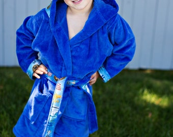 It's MINE - personalized bath robe for BOYS in soft terry velour fabric