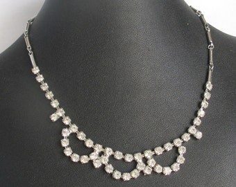 SALE Scalloped  Rhinestone Necklace