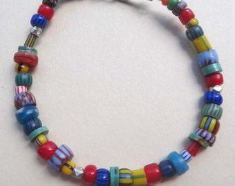 Beaded bracelets, trade bead bracelets, Venetian trade bead bracelets African trade bead bracelets chevron red white heart bracelet handmade