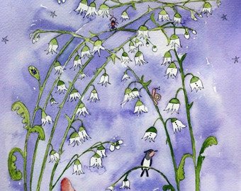 Garden Twilight, cockle shells, white flowers, nature, purple, garden, critters, original watercolor, children's art, nursery art, whimsical