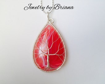 Red Onyx Agate Tree of Life Necklace