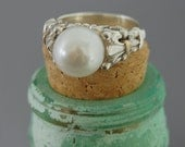 Desiree W -Pearl ring, made to order, pearl ring, fleur-de-lis, wedding, engagement, freshwater pearl, for her, gift idea