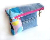 Denim clutch foldover purse, color block recycled jeans pink bright colors, summer purse, zipper pouch, blue jeans bag