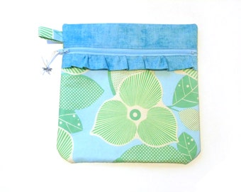 Project bag, craft bag, zipper pouch for cross stitch embroidery sewing crafters, blue green