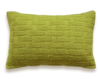 Basket Weave Hand Knit Pillow Cover In Pistachio Green Lime Citron Yellow-green 12 x 18 inch Textured Wool Natural Linen