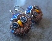 Blue & Brown Cane Sculpted Owl Earrings