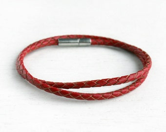 Braided Leather Bracelet, Double Wrap Leather Bracelet, Braided Leather Bangle Bracelet (many color to choose)