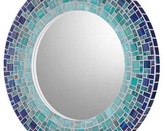 Coastal Mirror   Beach House Mirror   Mosaic Mirror   Custom Mirror   Round Mirror   Deep Blue, Sea Green, Light Teal Glass Mosaic