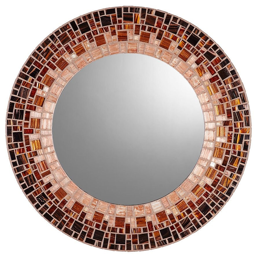 Round mosaic mirror black brown copper for Mosaic mirror