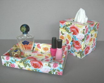 Modern Roses Vanity Set, Gifts For Her, Decorative Tray and Tissue Box Cover, Bedroom Decor, Powder Room Decor, Dorm Decor