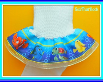 Disney'sFinding Nemo inspired girls Ruffle Socks -u Choose Solid Ribbon Color- perfect for Disney outfits